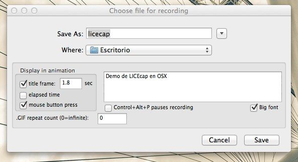 Choose file for recording