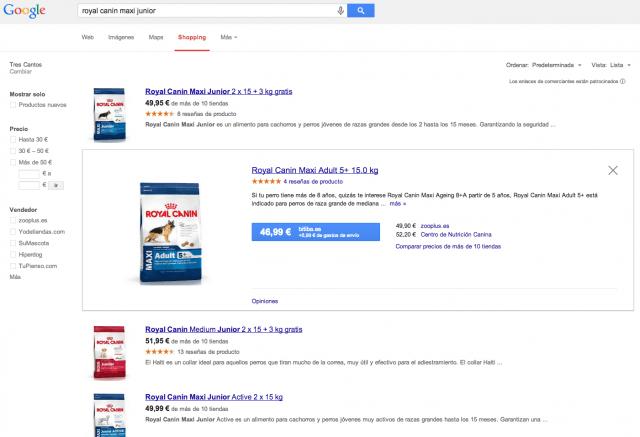 Ejemplo de como funciona google shopping