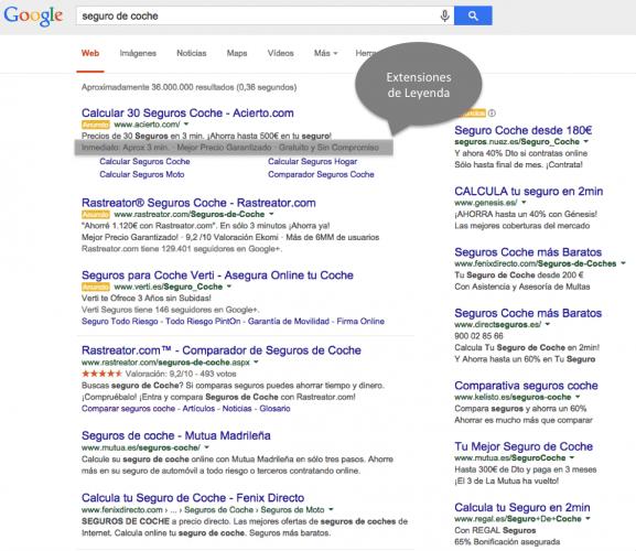 Qué son las Extensiones de Leyenda de Google Adwords