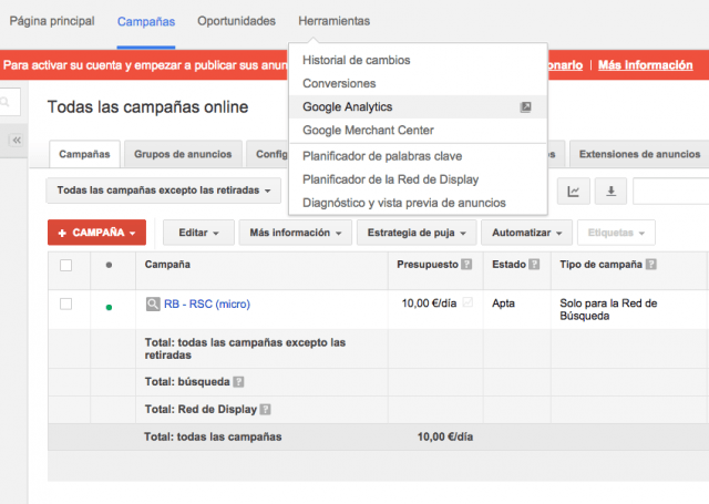 Como enlazar Adwords y Analytics - Paso 1