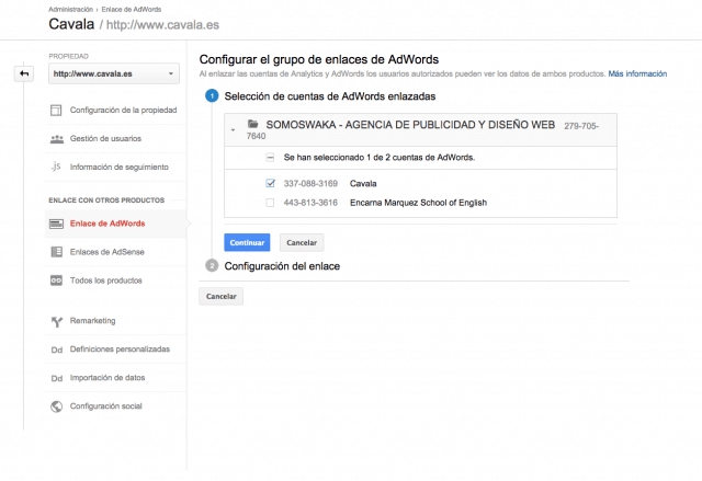 Como enlazar Adwords y Analytics - Paso 5