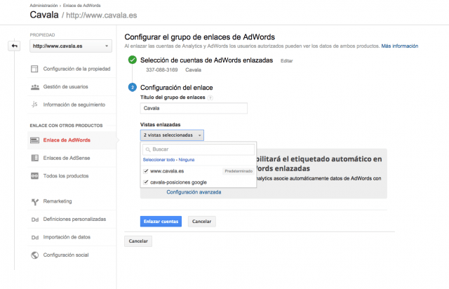 Como enlazar Adwords y Analytics - Paso 6