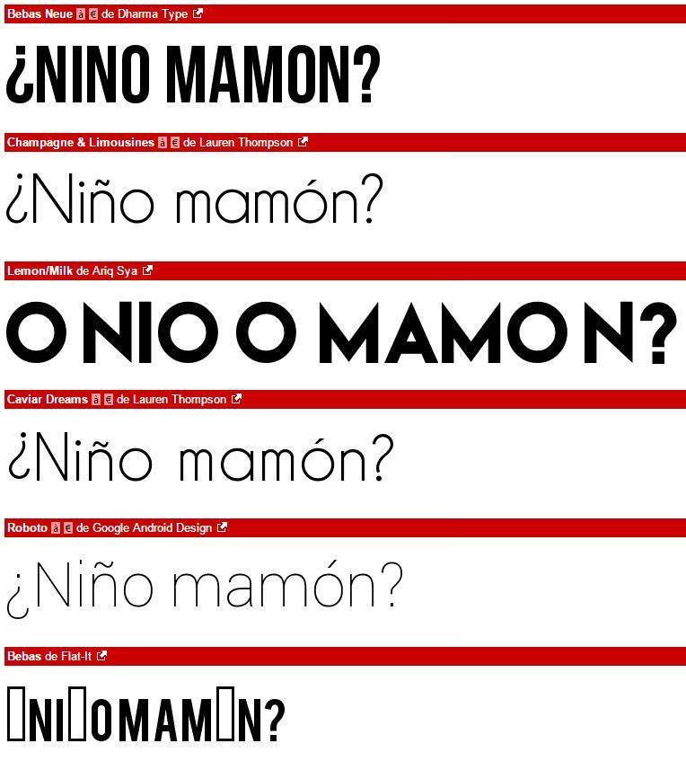 elegir tipografía - caracteres latinos