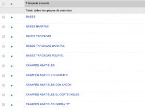 Ejemplo Estructura de Grupos de Anuncios en Google Adwords