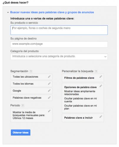 Buscar palabras clave con Google Adwords