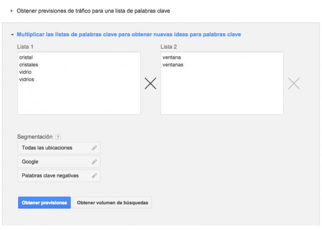 Herramienta para combinaciones de palabras clave de Google Adwords Keyword Planner Tool