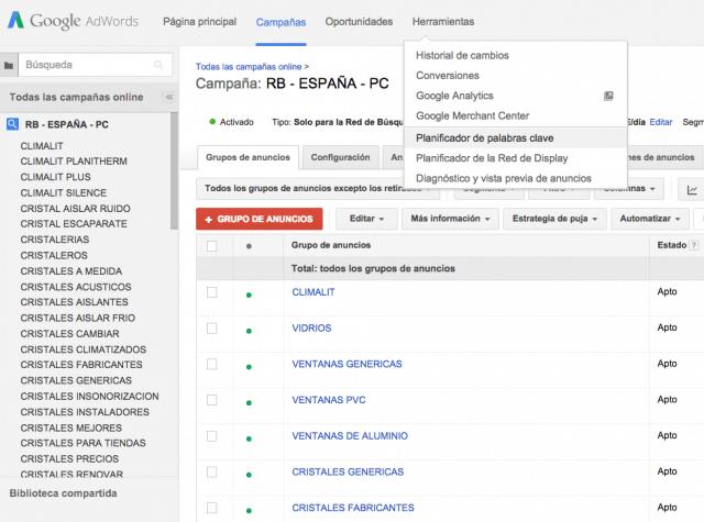 Cómo acceder a Keyword Planner Tool de Google Adwords