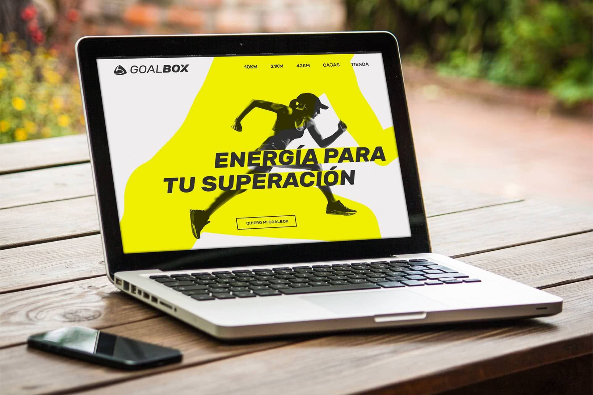 Laptop mostrando la web de Goalbox