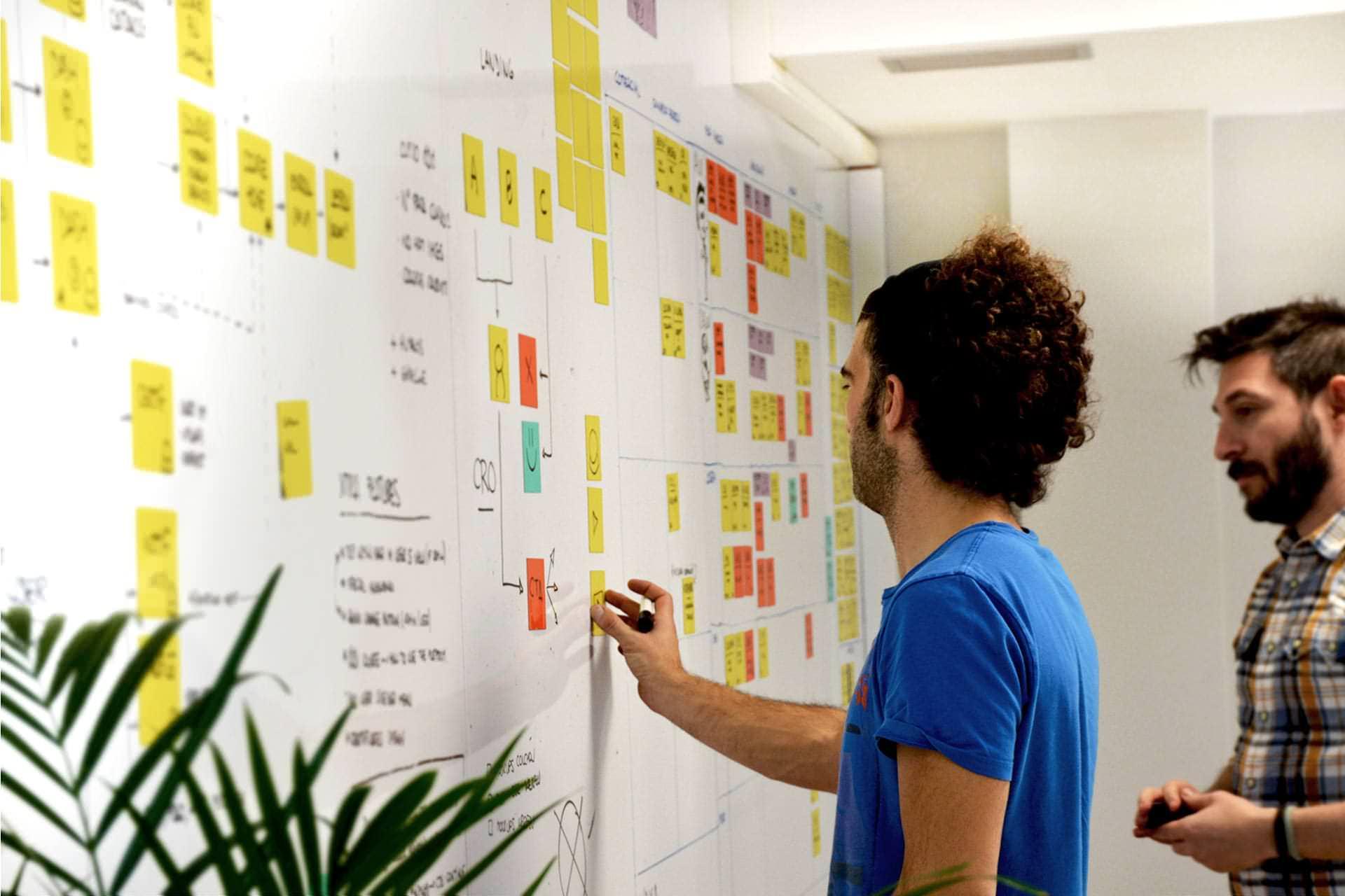 Equipo de waka definiendo estrategia en el whiteboard