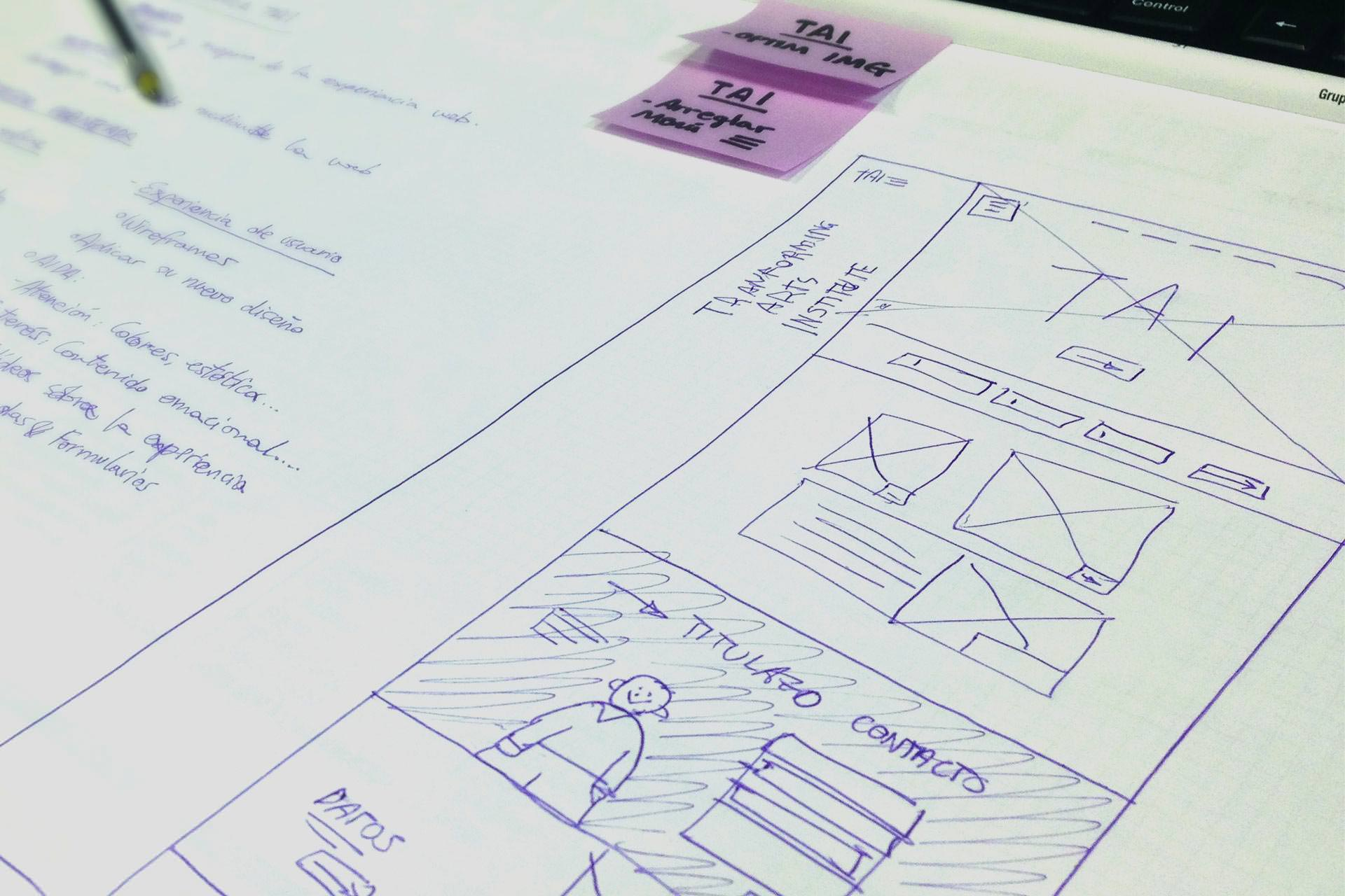 Web redesign wireframes