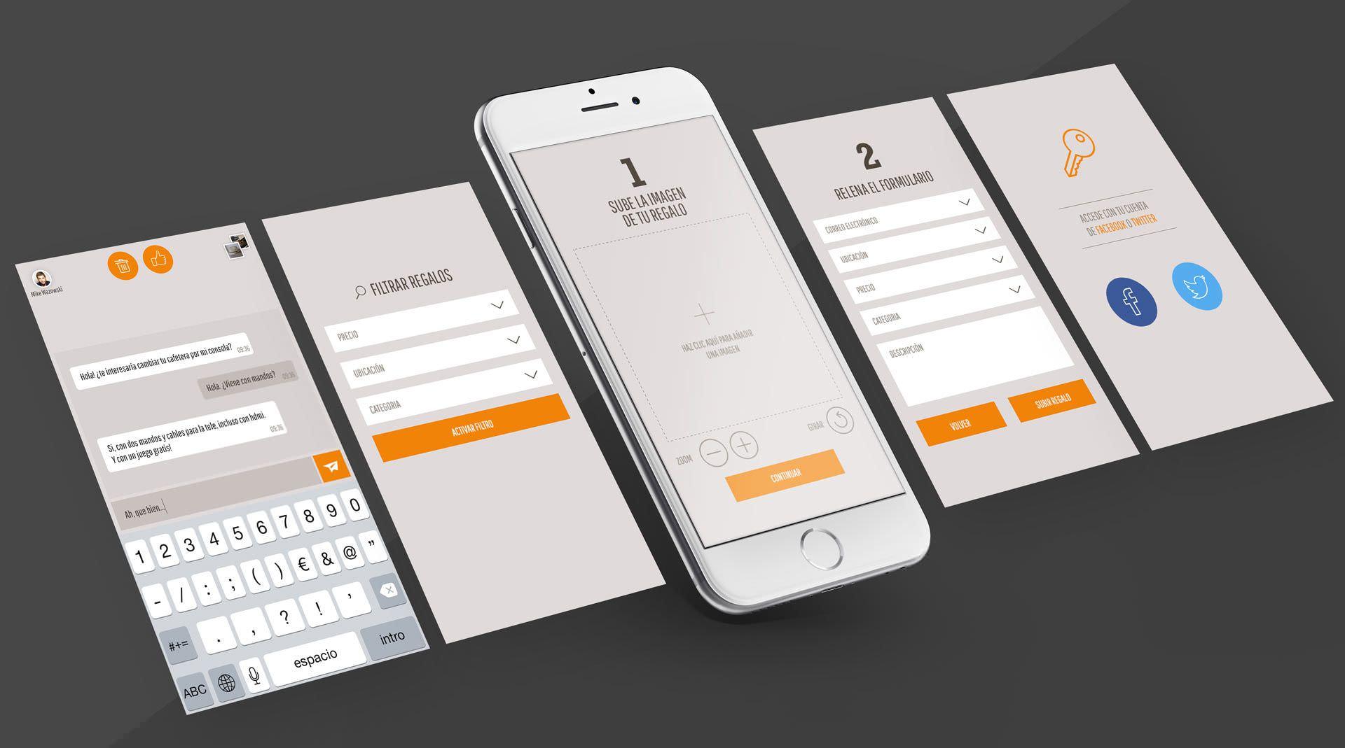 Diseño de interfaz para aplicación móvil para Gift2Gift
