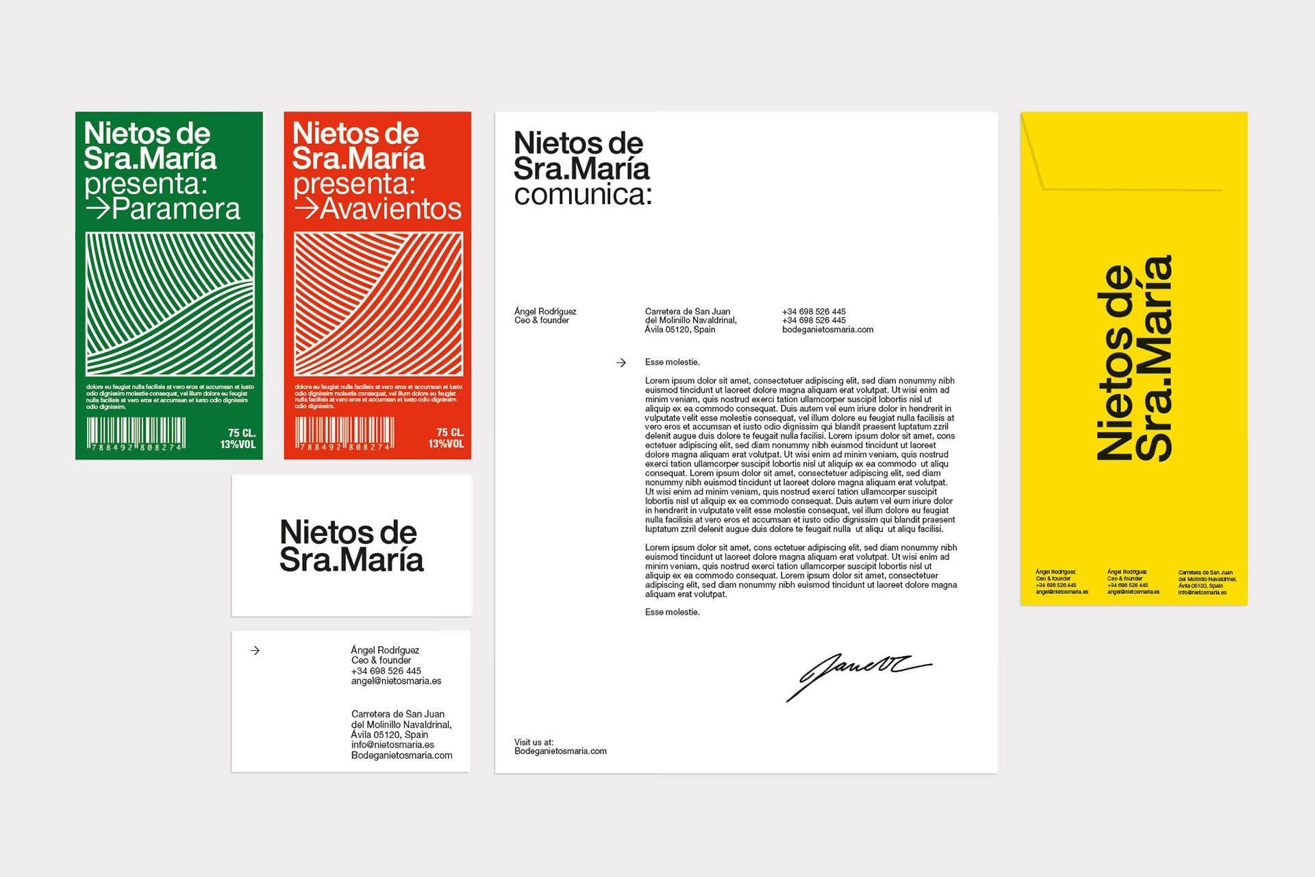Diseño de marca e identidad visual de vinos Nietos de Sra María, 2018