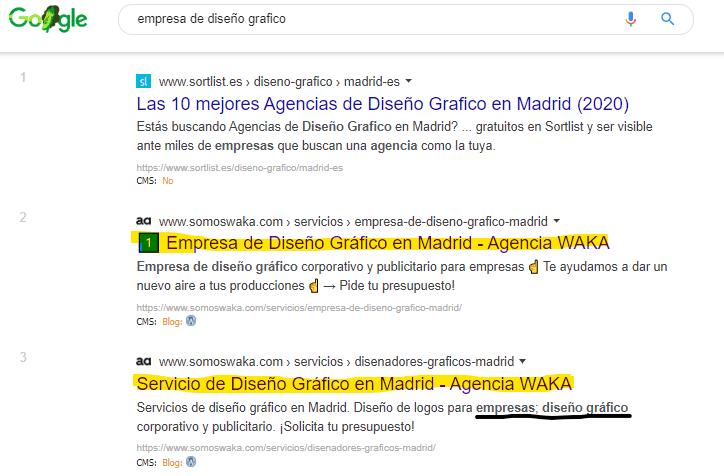 búsqueda de palabra clave en Google