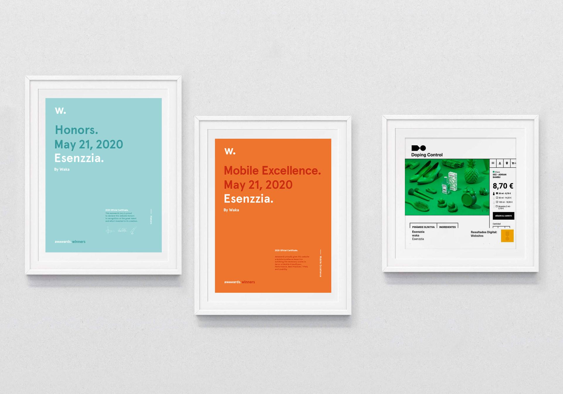 Agencia de publicidad waka. Seleccionada para los Premios Mobile Excellence y Honors de Awwwards, y categoría Digital en los premios Laus con el proyecto Esenzzia 2020