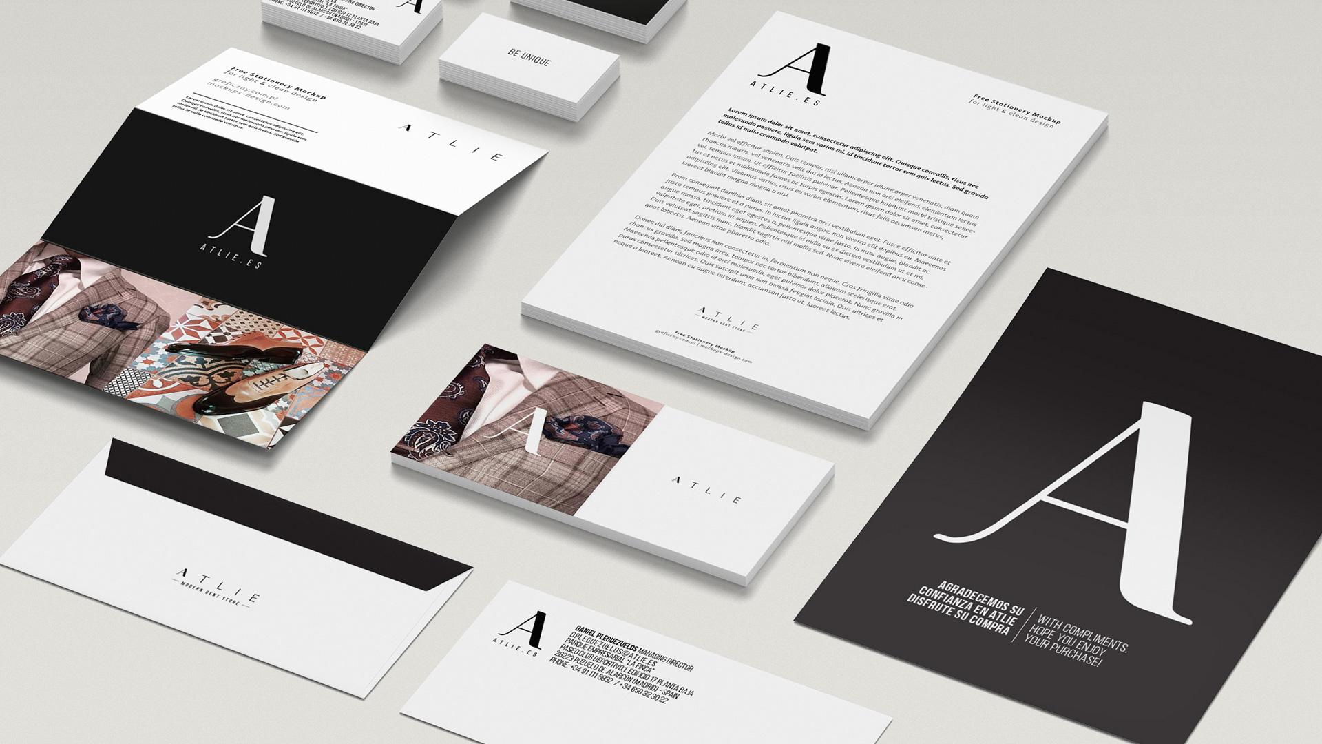 Diseño de piezas corporativas para ATLIE, 2019.