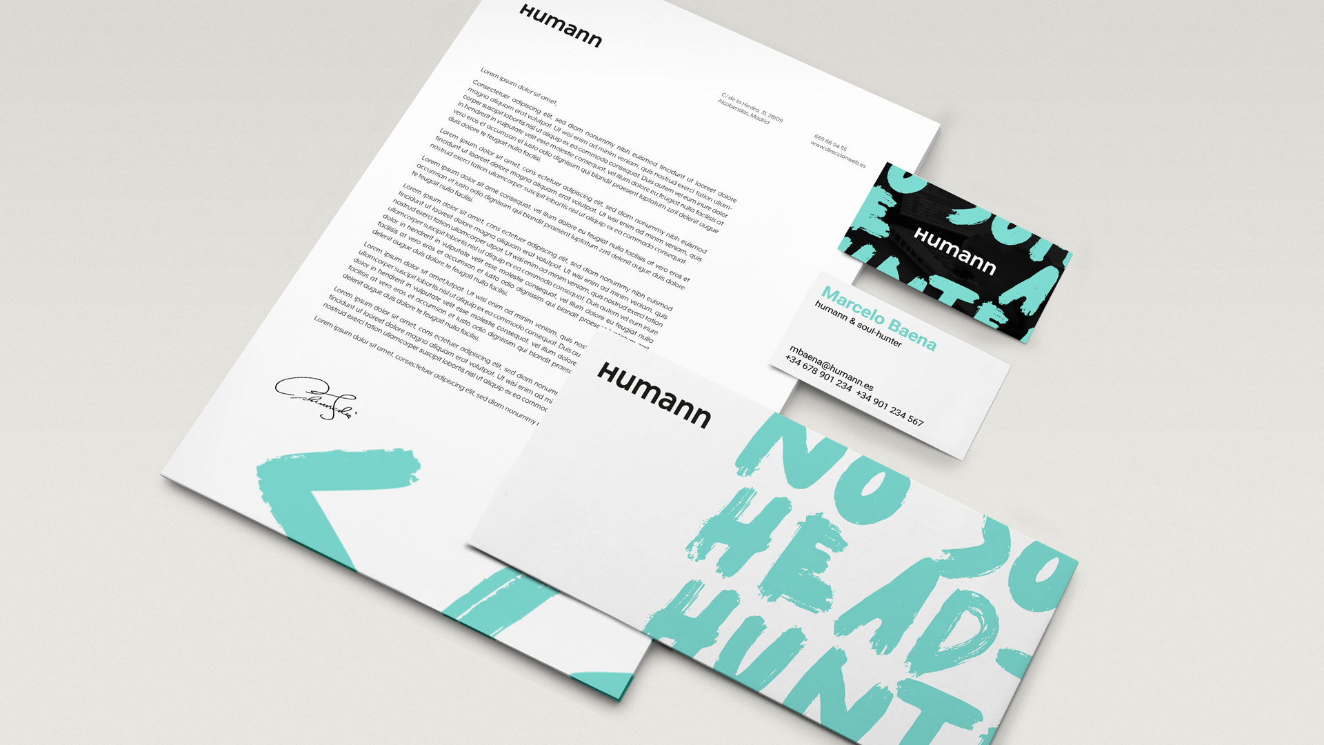 Design of corporate pieces for Humann, 2019.